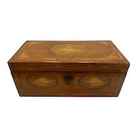 Late 18th c English Adam Style Mahogany Tea Caddy with Satinwood Inlays