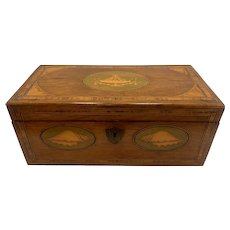 Late 18th c English Adam Style Mahogany Tea Caddy with Satinwood Inlays