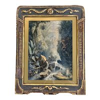 "Large George Baxter Colored Print ""The Mountain Stream"" in Arts and Crafts Frame, 1856"