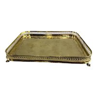 Early 19th c English George III Brass Gallery Tray with Ball and Claw Feet