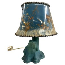 Van Briggle Art Pottery Dog Lamp in Blue with Original Shade