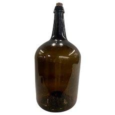 Large 19th c Amber / Olive Glass Pontilled Demijohn Bottle