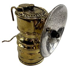 English Premier Antique Brass Carbide Miners Lantern