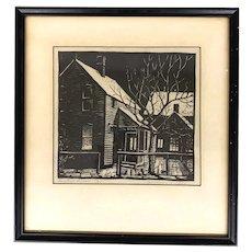 Woldemar Neufeld WPA Style Block Print, Dorothy's Window, circa 1936