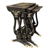 Set of Three 19th c Lacquered Nesting Tables with Gilt Oriental Decoration