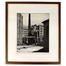 Sean Hurley Limited Edition Etching, Millyard Sentinel 12/75