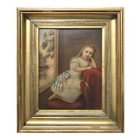 18th Century Primitive Portrait of a Young Girl in Repose