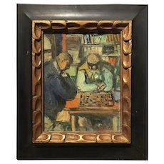 Benjamin Kopman Impressionist Oil Painting, Chess Players 1953