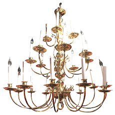 Vintage English Brass Three Tier Grand Hall Chandelier