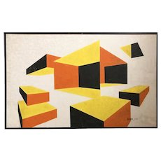Geometric Abstract Painting by California Modernist 1970