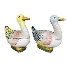 Pair of Antique Polychrome Porcelain Duck Tureens