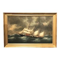Victor Charles Edouard Adam Marine Oil Painting, French Barq Mireille 1899