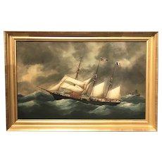Victor Charles Edouard Adam Marine Oil Painting, French Barq Mireille 1899