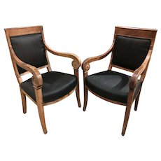 Near Pair of Fruitwood Empire Armchairs, circa 1810