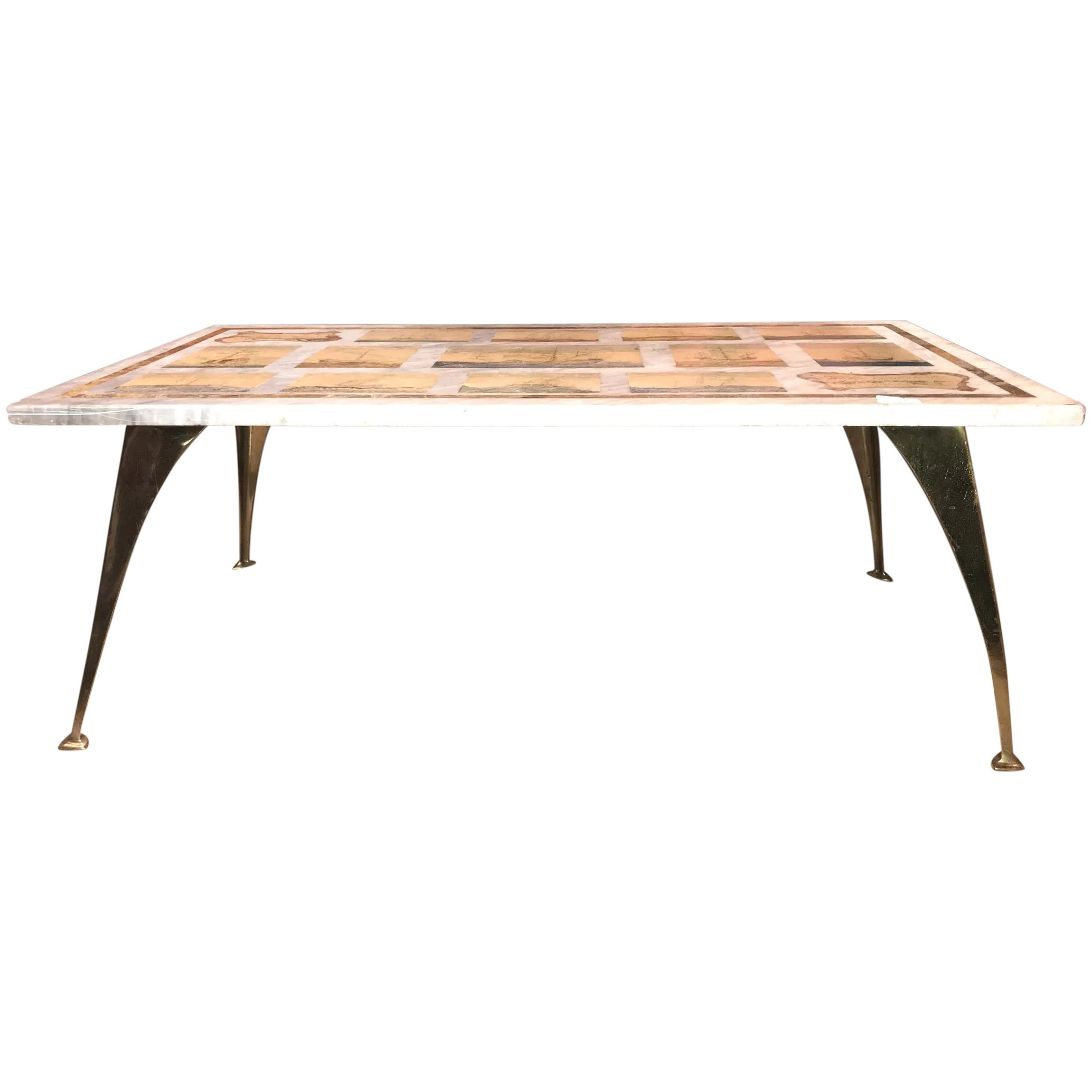 Della Valle Bros Italian Marble Top Mariner Coffee Table With Later New Hampshire Antique Co Op Ruby Lane