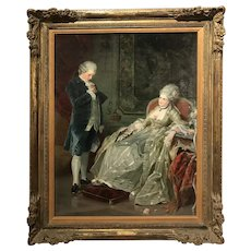 E. Jantzen 19th c Oil Painting of a Parlor Couple, A Thoughtful Moment