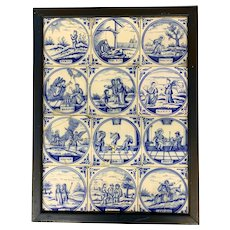 Set of 12 18th Century Blue and White Delft Tiles in Frame