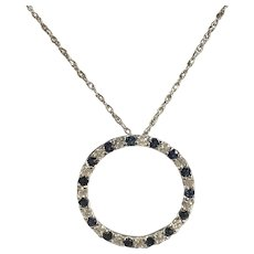 14k White Gold Diamond and Sapphire Circle Pendant and Chain