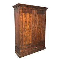 19th Century Mahogany Armoire or Wardrobe with Fitted Interior