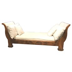 19th c French Louis Philippe Fruitwood Daybed or Settee with Scrolled Arms
