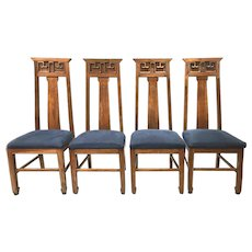 Set of Four Teak Wood Mid Century Modern Dining Chairs with Upholstered Seats