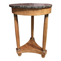 19th c French Fruitwood Guéridon or Round Side Table with Marble Top