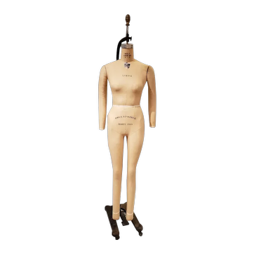 """Wolf Model 1988 """"Linda"""" Full Collapsible Dress Form Mannequin on Cast Iron Hanging Frame"""