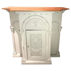 Folk Carved Gothic Style Church Altar with Cabinet Door
