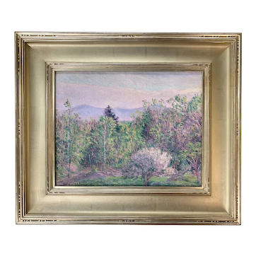 Lilla Cabot Perry Landscape Oil Painting, Early Spring from My Window in Hancock, NH 1921