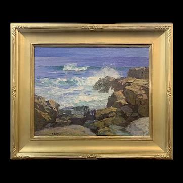 Edward Henry Potthast Marine Coastal Oil Painting, Rocks & Surf