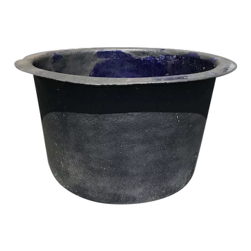 Early 20th c Large Steel Garden Pot with Blue Enameled Lining