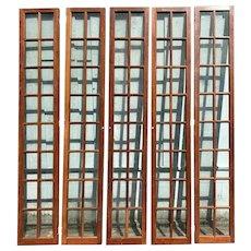 Early 20th Century Set of Five Cherrywood 16-Pane Glazed Doors