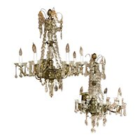 Pair of Gilt Bronze & Crystal Palace Five-Light Sconces