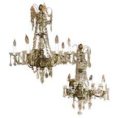 Pair of Gilt Bronze & Crystal Palace Five-Light Sconces