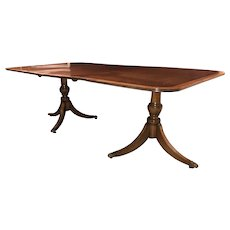 Mahogany Double Pedestal Dining Table with Banded Top & Single Finished Leaf