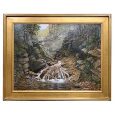 Byron Carr Woodland Landscape Waterfall Oil Painting, Beecher Cascade, Crawford NH
