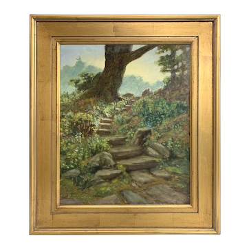 Byron Carr Landscape Oil Painting with Stone Path, Fells Morning