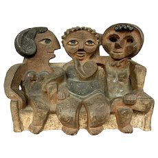 Marilyn Fox Mid Century Ceramic Abstract Sculpture of Three Gossiping Ladies on Park Bench