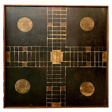 American Folk Art Large Hand Painted Parcheesi Game Board