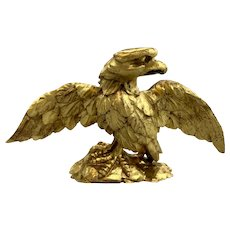 19th c Folk Art Federal Style Hand Carved Gilt Eagle