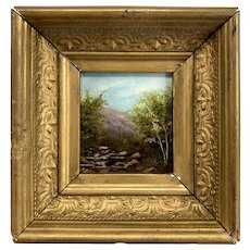 Miniature 19th c White Mountain School Landscape Oil Painting of Mountain with Stream
