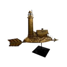 Early 20th c Cast and Molded Copper and Zinc Lighthouse Weathervane with Early Gilt