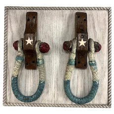 Pair of Mounted Sea Chest Handles or Beckets in Red, White, and Blue Paint