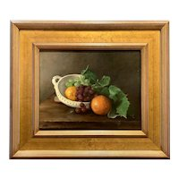 Mary Phillips Oil Painting, Still Life with Oranges, Grapes & Book