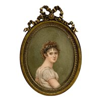 19th Century Hand Painted Miniature Watercolor Portrait of a Young Woman