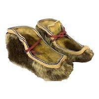 Nicely Made Pair of Eskimo Seal Skin Mukluk Fur Slippers