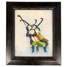Joyce Roybal Whimsical Oil Painting of Field Hockey Players