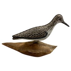 Painted Tin Shorebird Decoy on Wooden Stand, Patent Oct 1927