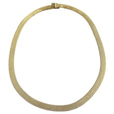 Estate 14k Italian Gold Meshed or Woven Collar Necklace with Nice Clasp