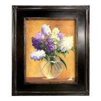 Carol Walster Robey Oil Painting Still Life with Flowers, Purple & Blue